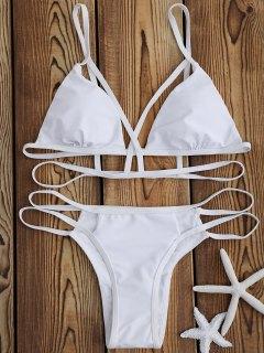 Strappy Bandage Bikini Set - White M