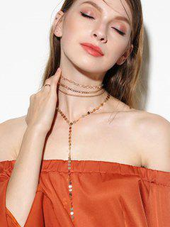 Circle Chain Disc Necklace Set - Golden