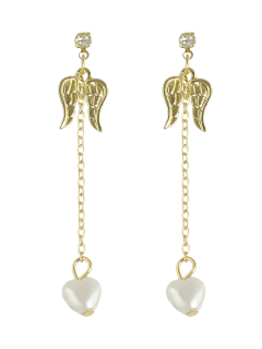 Artificial Pearl Rhinestone Angel Wings Earrings - Golden