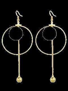Circle Bead Ball Drop Earrings - Black