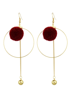 Circle Bead Ball Drop Earrings - Red