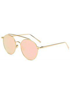Anti UV Mirror Metal Crossbar Sunglasses - Gold Frame + Pink Lens