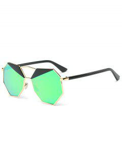 Mirrored Irregular Polygon Sunglasses - Gold Frame + Green Lens
