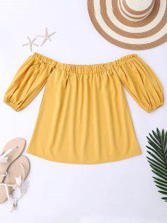 Balloon Sleeve Off The Shoulder Top - Yellow Xl