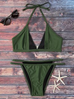 Mesh Panel Thong Bikini Set - Green S