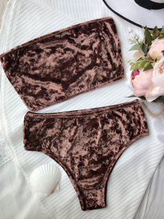 High Leg Velvet Bandeau Bikini Set - Coffee Xl