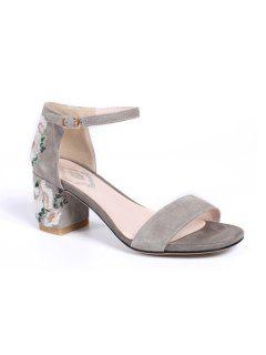 Embroidery Block Heel Sandals - Gray 39