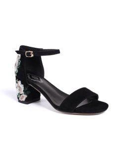 Embroidery Block Heel Sandals - Black 37