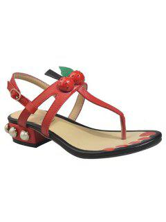 Faux Leather Color Block Sandals - Red 37