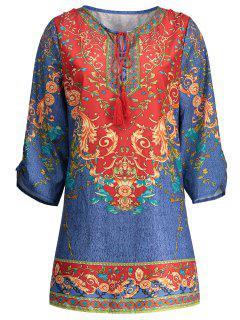 Bohemian Drawstring Print Dress - Blue Xl
