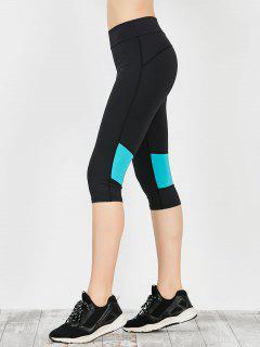 Two Tone Workout Capri Leggings - Blue Green M