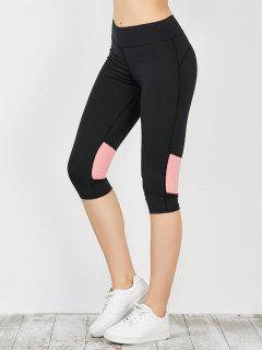 Two Tone Workout Capri Leggings - Pink Xl
