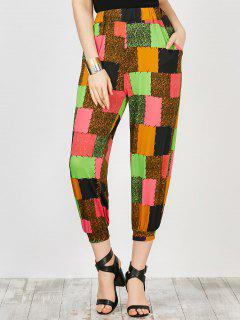 Pockets Color Block Trapeze Pants - Floral