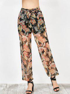Imprimé Floral Mousseline Transparente Pantalon Large - Noir Xl