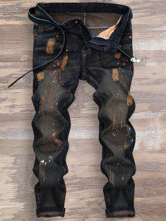 Ripped Splatter Paint Nine Minutes Of Jeans - Deep Blue 34