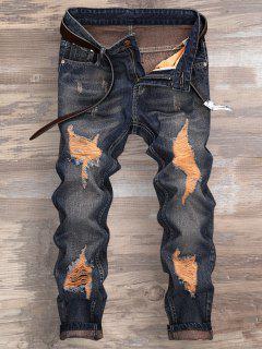 Ripped Design Cuffed Nueve Minutos De Jeans - Azul Denim 32