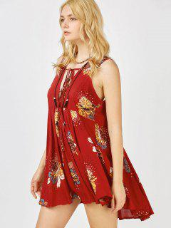 Floral Print Mini Plunge Sundress - Burgundy L
