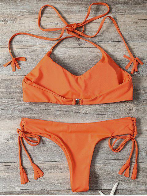 trendy Tassels Lace-Up Bikini Set - ORANGEPINK M Mobile