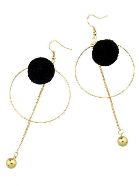 Boucles d'oreilles orné de boule cercle et pompon - Noir  Mobile