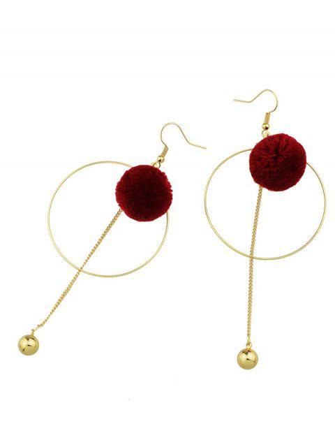 Boucles d'oreilles orné de boule cercle et pompon - Rouge  Mobile