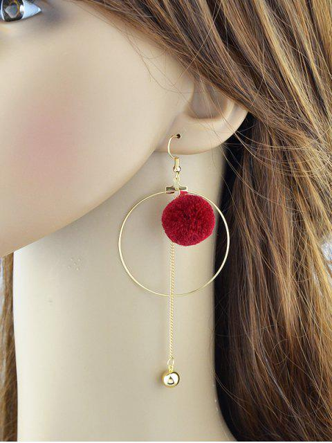 unique Circle Bead Ball Drop Earrings - RED  Mobile