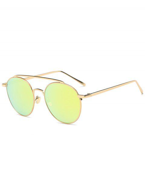 Anti-UV-Linsen Metall Querlatte Sonnenbrillen - Golder Rahmen + Golde Linse  Mobile