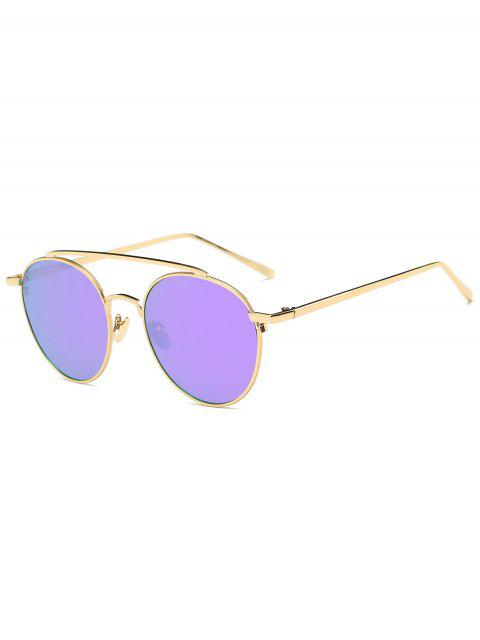 womens Anti UV Mirror Metal Crossbar Sunglasses - GOLD FRAME + PURPLE LENS  Mobile