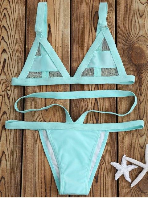 Bikini Bandage à Empiècement en Maille - Menthe L Mobile