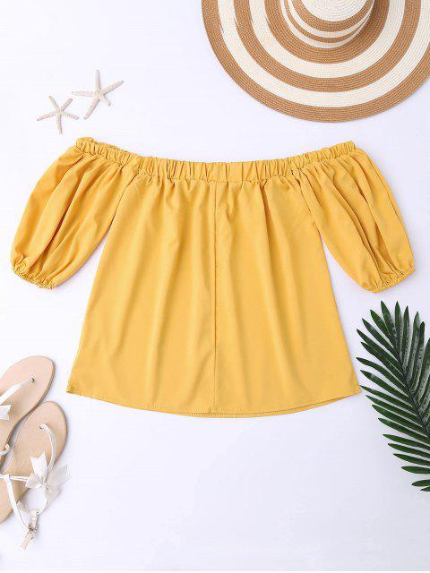 outfits Balloon Sleeve Off The Shoulder Top - YELLOW S Mobile