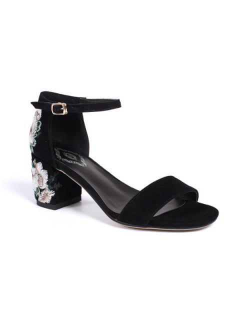 Sandales à talons broderie Bloc - Noir 37 Mobile