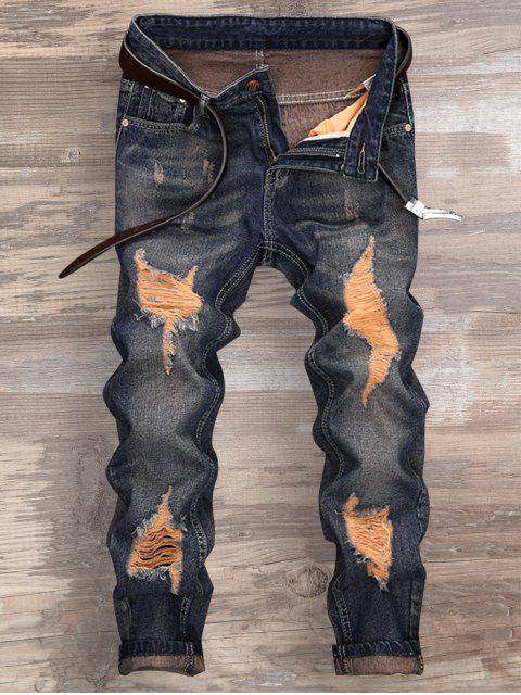 online Ripped Design Cuffed Nine Minutes of Jeans - DENIM BLUE 34 Mobile