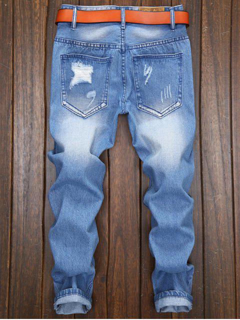 Pantalones Vaqueros de Nueve Mosca de Cremallera y Ropa para Hombre - Azul claro 38 Mobile