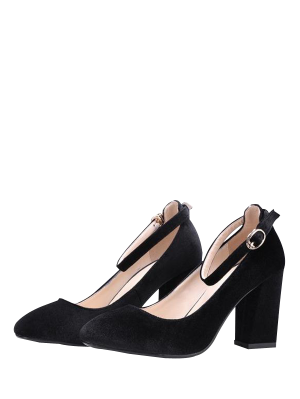 Velvet Ankle Strap Block Heel Pumps