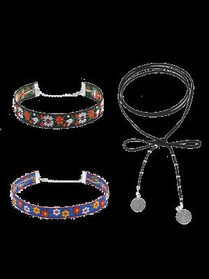 Vintage Flower Embroidery Choker Necklace Set - Multicolor