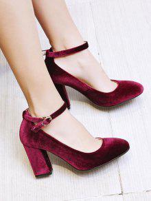 90c21e5c794 41% OFF  2019 Velvet Ankle Strap Block Heel Pumps In WINE RED