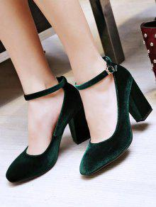 686081841 32% OFF  2019 Velvet Ankle Strap Block Heel Pumps In BLACKISH GREEN ...