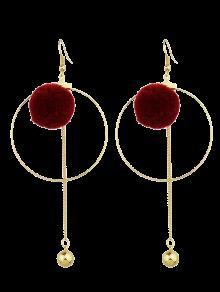 Circle Bead Ball Drop Earrings - Red