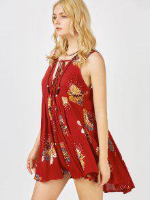 الفستان القصير بطبع الزهور مع النسيج الغاطس - عنابي اللون S