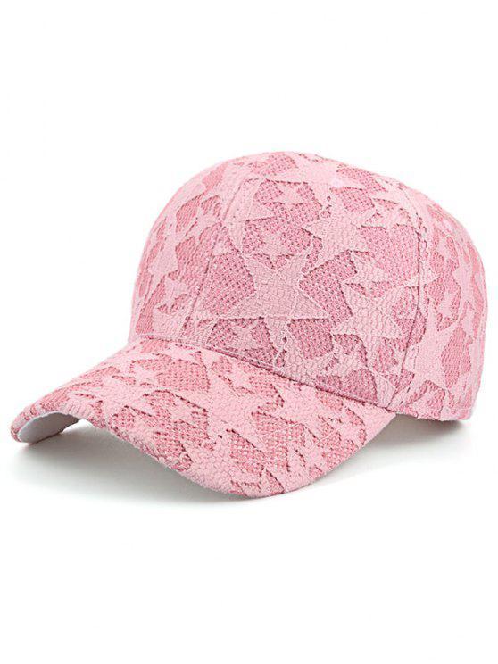 نجوم الدانتيل شبكة قبعة بيسبول - زهري