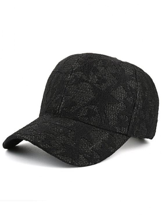 نجوم الدانتيل شبكة قبعة بيسبول - أسود