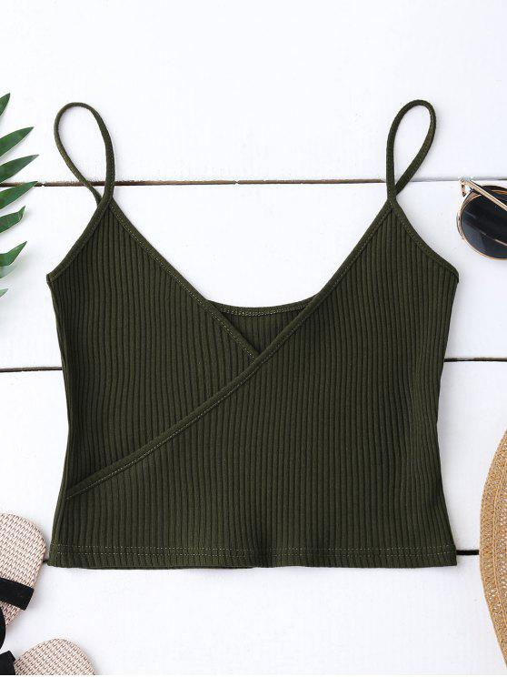 best Ribbed Surplice Cropped Cami Tank Top - ARMY GREEN ONE SIZE