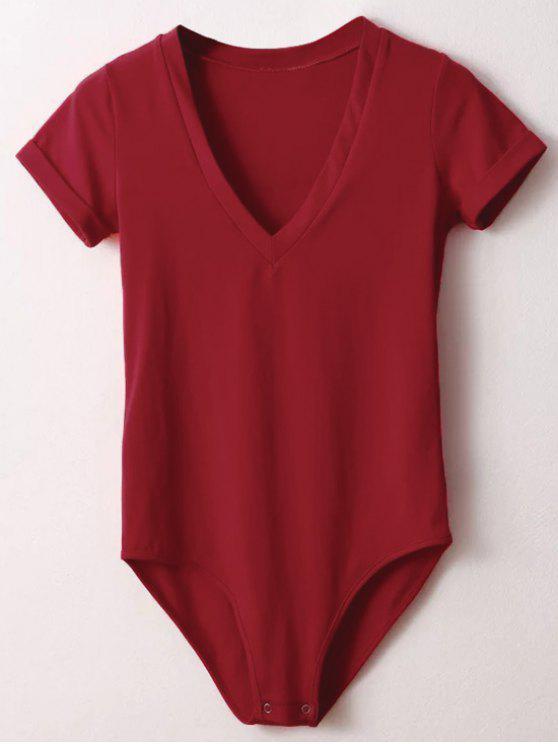 shops Skinny Plunging Neck Bodysuit - RED S