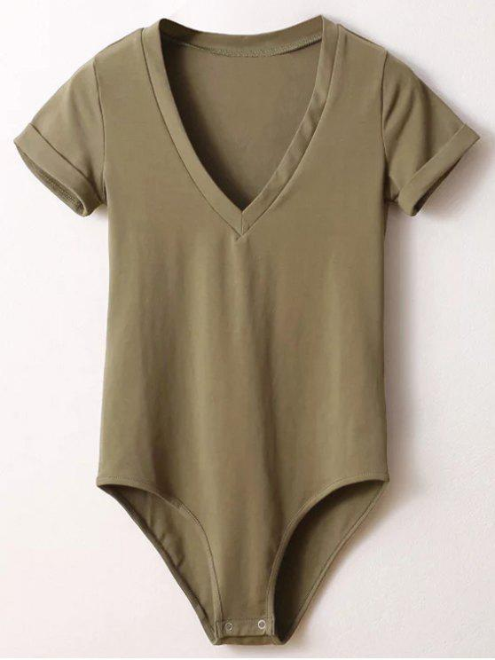 latest Skinny Plunging Neck Bodysuit - ARMY GREEN M