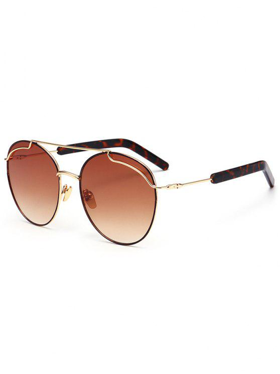 women Polarized Double Metallic Crossbar Sunglasses - GOLD FRAME+DRAK BROWN