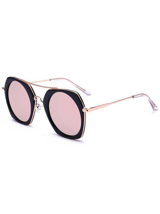 النظارات الشمسية الاستقطاب العاكسة - مشرق الإطار الأسود + الوردي الزئبق عدسة