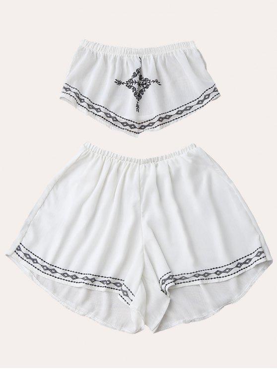 shop Print Chiffon Tube Top and Shorts - WHITE M