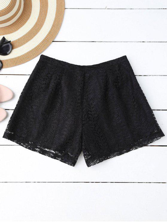 ladies Layered Lace Shorts - BLACK M