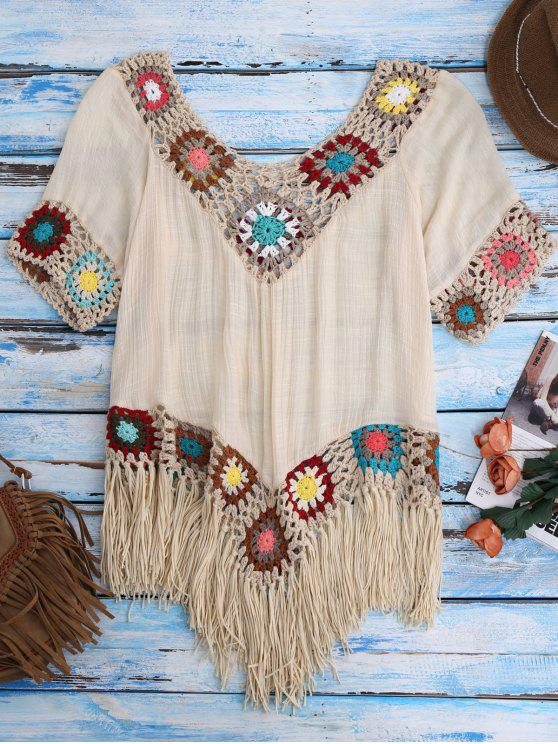 outfits Crochet Beach Cover-Up Tunic - BEIGE ONE SIZE