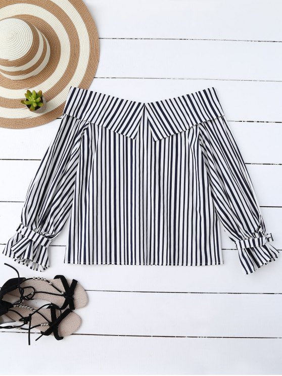 lady Choker Off Shoulder Striped Blouse - STRIPE M