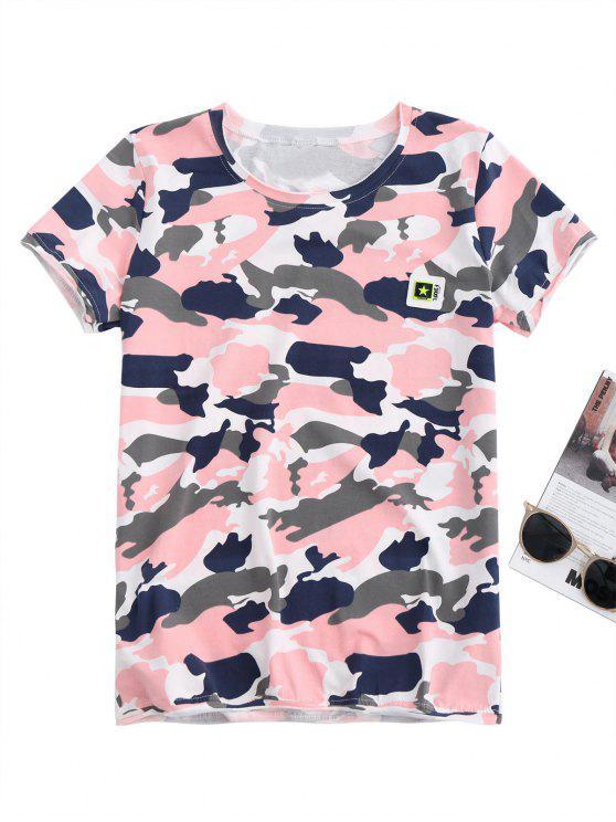 Pentagrama apliques camiseta del camo - Rosa M